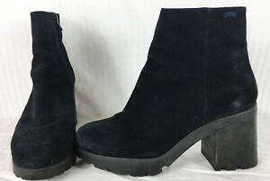 $210 39 Camper Dimplat Marino Rubber Lug Sole 90s Style Grunge Suede Boots Goth