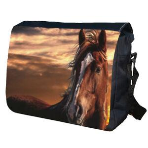 Horse Face Personalised School Shoulder Messenger Bag