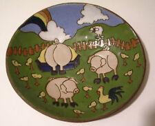 Vintage 1977 JUDY MILLER Oval Bowl Sudio Art Ceramic Farm Scene Signed Handmade
