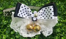 CAT COLLAR BIG RIBBON BOW TIE FEMININE BLACK LACE WITH BIG BELLE HANDMADE