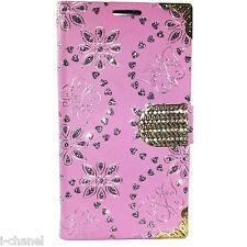 Bling Glitter Designer Diamond Card Holder Book Flip Wallet Case Cover Various