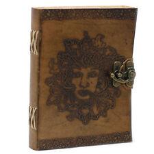 Leather Notebook, Green Man Design