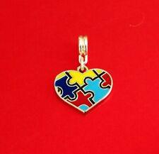 Autism Awareness Puzzle Piece Heart Jigsaw Bead Charm Bracelet Valentine Gift