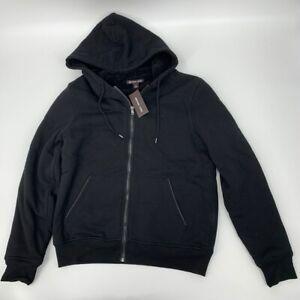 Michael Kors mens Sherpa lined full Zip Hoodie sweatshirt Sz S black cotton x362