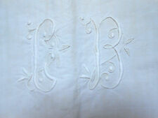 drap ancien en lin en 2 lès monogramme CB 200x300cm n°2