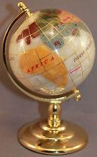 Genuine Multi-Gemstone Desktop Globe Gold Tone Base White Globe Free S & H