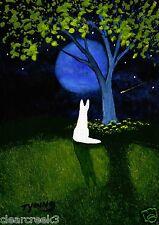 White German Shepherd Dog moon LARGE Art PRINT Todd Young painting SPRING TREE