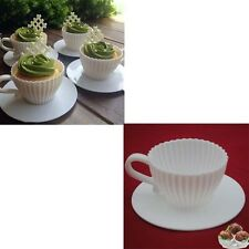 4 PCS Silicone Cupcake Cups Muffin Baking Tea Saucers Teacup Mold New