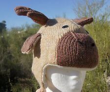 delux tag BROWN MOOSE HAT knit ADULT animal costume LINED bullwinkle cap antlers