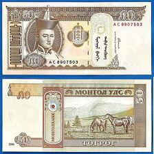 Lot Mongolia 10 X 50 Tugrik 2000 UNC Sukhe Bataar Horse Animal Free Shiping Wrld