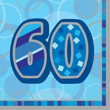 "16 Happy 60th Birthday Blue Sparkle 6.5"" Party Tableware Napkins"