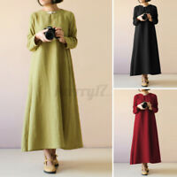 ZANZEA UK Women Long Sleeve O Neck Casual Loose Kaftan Baggy Maxi Dress Pullover