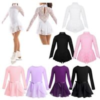 Kids Girls Ballet Dance Leotard Dress Lace Ice Skating Dress Gymnastic Costume