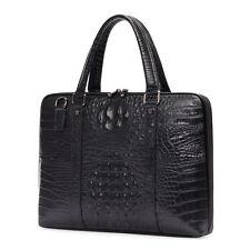 Men Real Leather Crocodile Alligator 14'' Laptop Shoulder Briefcase Satchel Case