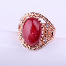 Charm Red Jade 18K Rose Gold Plated Finger Ring Women Girl Fashion Jewelry Gift