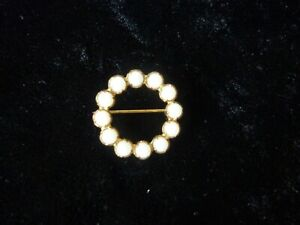 Round Circlet Brooch of White Stones