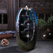 Ceramic Waterfall Backflow Incense Burner Incenser Holder & 10 Cone Incense