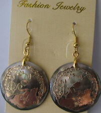 Earrings Sleeping Beauty Abalone Shell Rhodium plated Fashion Shepherd Hook