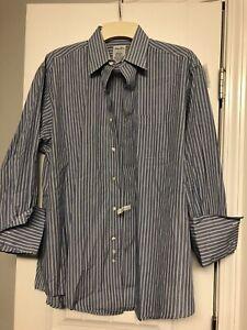 Brooks Brothers Makers 16 - 4,Men Blue Long Sleeve Button Up Career Dress Shirt