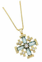 Gold Plated Jerusalem Cross Pendant Necklace Turquoise and Gems Religious Gift