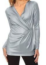 Linea Tesini Shirt Tunika 38 Heine Modern WickelOptik Sexy Bluse Grau Silber Neu