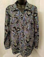 Notations Womens Multi Color Paisley Design Button Down Shirt Top Blouse Size M
