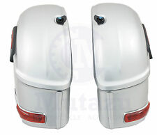 RS Hard Saddle bags fits YAMAHA VSTAR V STAR 650 1100 1300 ROAD ROADLINER SILVER