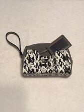 Nwot Steve Madden Cosmetic Bag Black&White Snake Print Grey Zip Close Handle