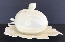 WEDGWOOD CREAMWARE MELON SOUP TUREEN SAUCE DISH WITH LEAF UNDERPLATE