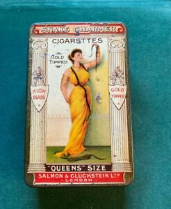 Rare Salmon and Gluckstein 'Queens Size' Snake Charmer Cigarette Tin (VCG),c1900