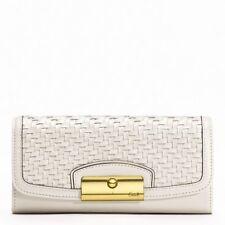 Coach F49100 Kristin Woven Leather Slim Envelope Wallet (White)