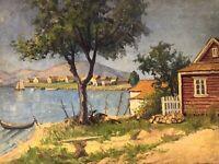 American Coastal Antique Impressionist Oil Painting signed, Kerne Coastal Maine