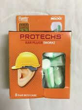8 pr Flents Protechs Tapered Foam Ear Plugs with Case Work Snug Soft 68051