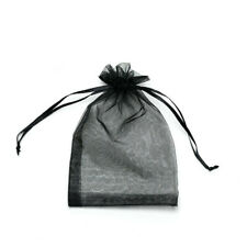 20pcs Black Drawstring Organza Bags Packaging Wedding Party Gift 7x9cm