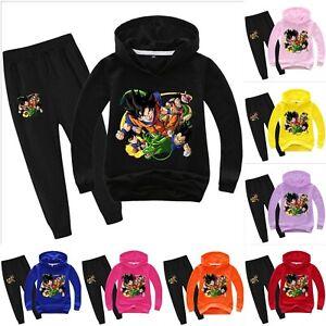 Kids Dragon Ball Z Goku 2Pcs Sportswear Hooded Tracksuit Hoodie+Pants Outfit Set