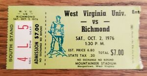 West Virginia Mountaineers Richmond Football Ticket Stub 10/2 1976 Tommy Bowden