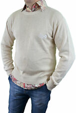 ARMANI Mens Vtg 80s Ivory Knit Thin Front Logo Classic Jumper Sweater sz S/M L67