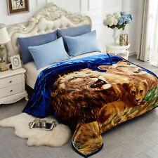"Lion Blanket Blue Beige Animal Printed Super Soft Bedding Sheets Throws 77""x87"""
