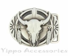 Native American Ceremonial Buffalo Skull Western Metal Fashion Belt Buckle