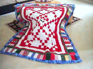 62x50 QUILTED ~Cherry Cherries Scrappy Country~Red White Blue~ Irish Chain Quilt