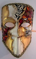 CASANOVA HANDMADE IN ITALY,  ICONIC PAPIER MACHE  MASK, COPPER/RED/GOLD MOSAIC.