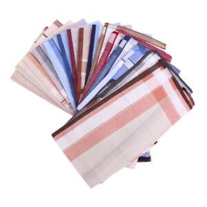 12x 100% Cotton Vintage Striped Men Handkerchief Pocket Square Suits Hanky