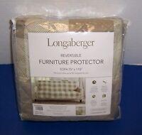 "Longaberger Sofa Cover Protector (75""x110"") Cappuccino / Ivory Buffalo Plaid NIP"