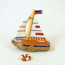 New French Limoges Trinket Box Summer Travel Sailboat Boat w Rem. Life Preserver
