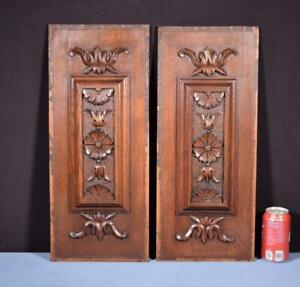*Pair of Antique French Highly Carved Solid Oak Wood Panels Salvage