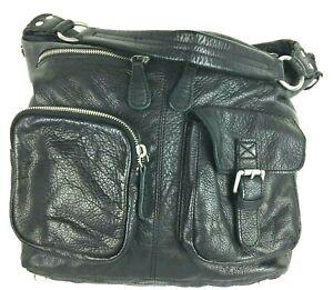 L.K. LIEBESKIND Berlin Vintage Grained Black Cowhide Leather Hobo Bag Purse
