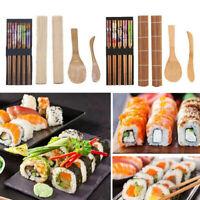 8pcs/Set Sushi Roller Bamboo Mat Spoon Chopsticks Maker Food Rolling Tool zxc