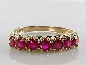 R302 Genuine 18K Yellow Gold Natural Ruby 7-stone Half- Eternity Ring in yr size