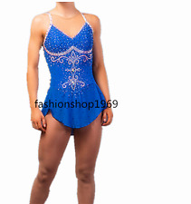 Ice Figure Skating Dress  Figure skaitng Dress blue  For Competition xx78