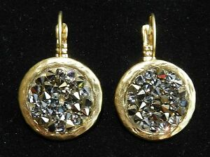 Artisan Gold 24k Plated Round Dangle Earring With Gray Crystal Rock Stones